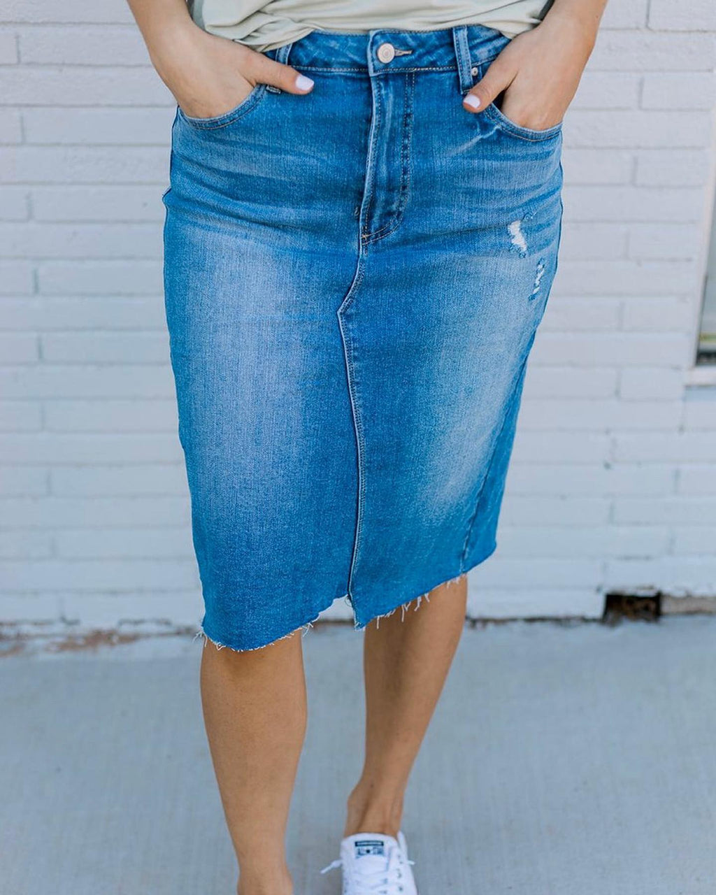 Heidi High Waisted Denim Skirt - The Darling Style - Modest Dresses