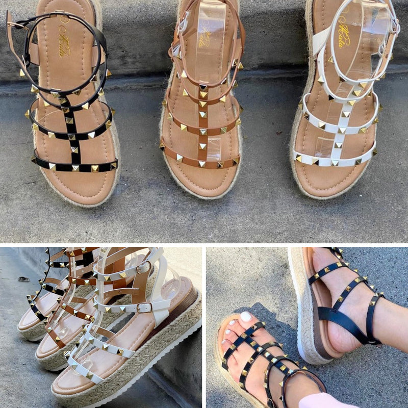 Always Loved Studded Sandals - White Color - The Darling Style - Modest Dresses