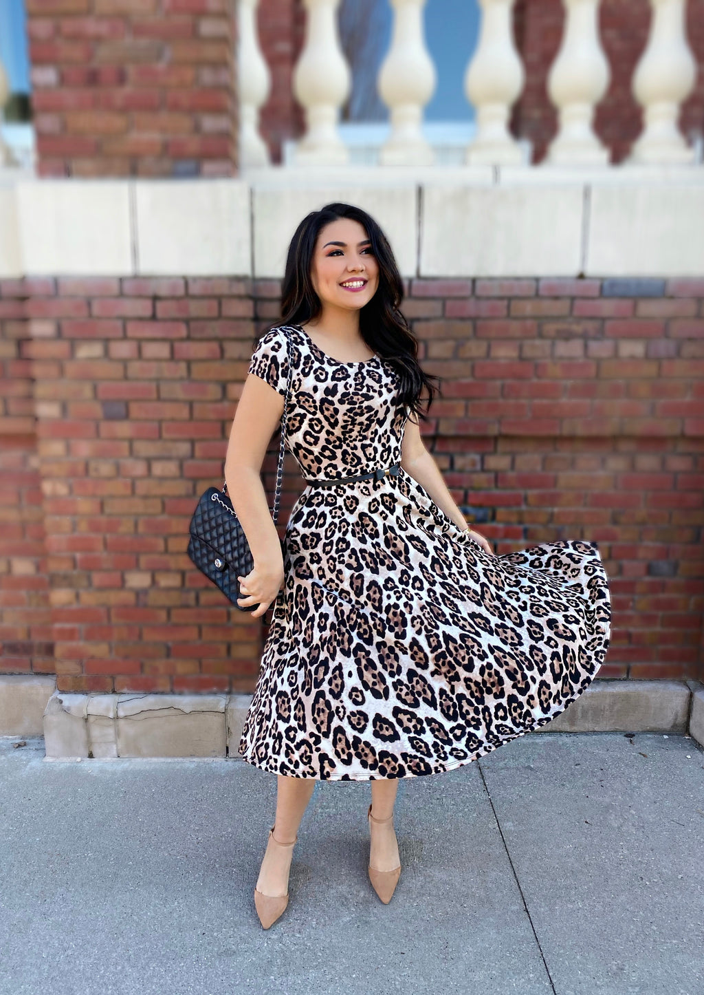 The Ari Leopard Swing Dress - The Darling Style - Modest Dresses