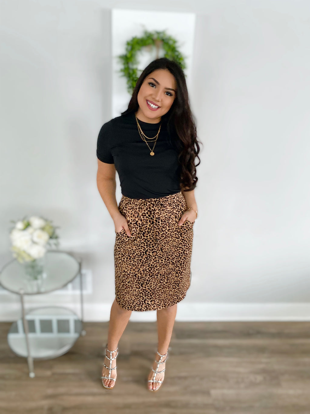 Leopard Lounge Skirt - Tan