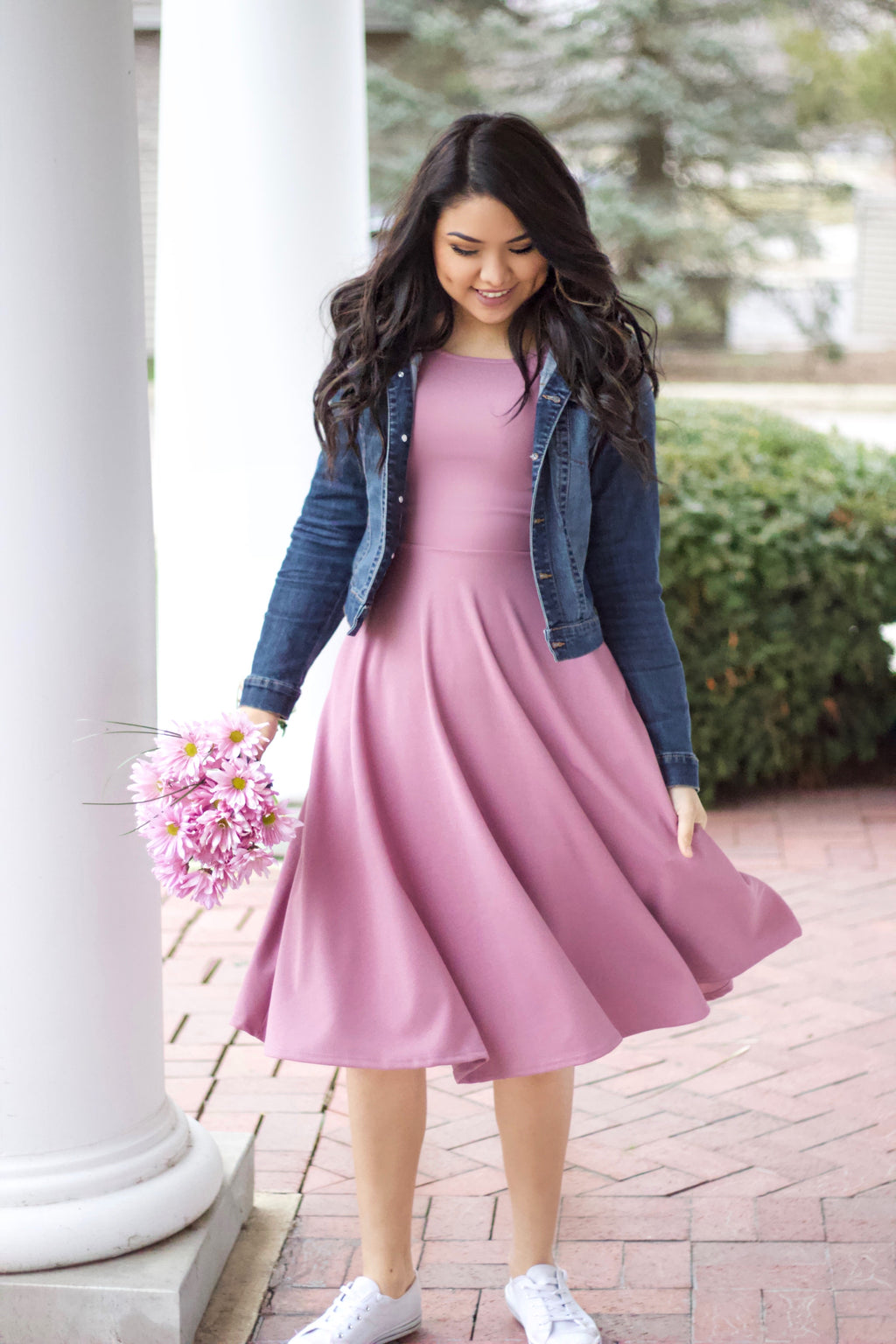 Lola Mauve Swing Dress - Short Sleeve - The Darling Style - Modest Dresses