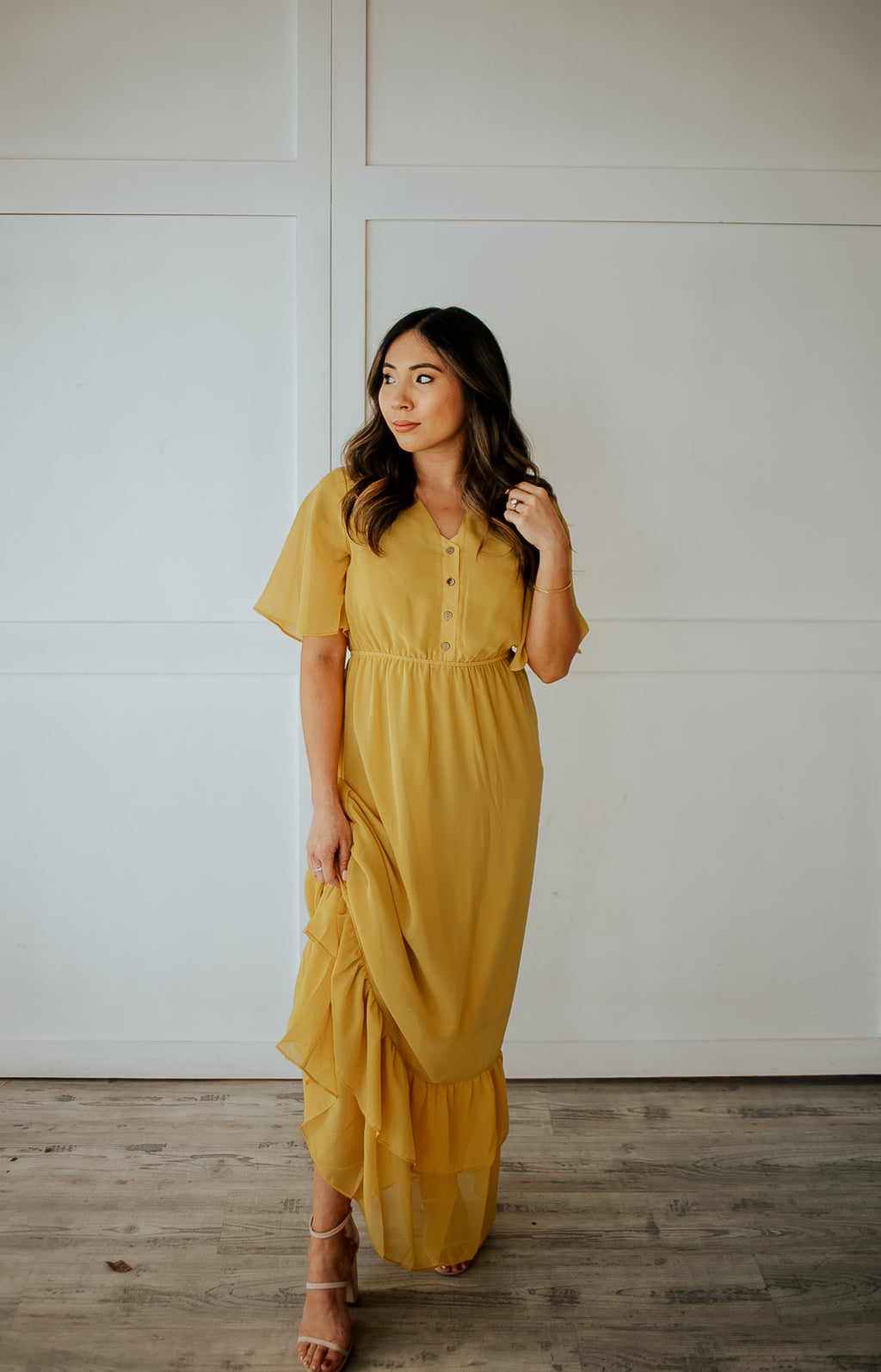AUBREY BOHO BUTTON FRONT RUFFLE DRESS - MUSTARD