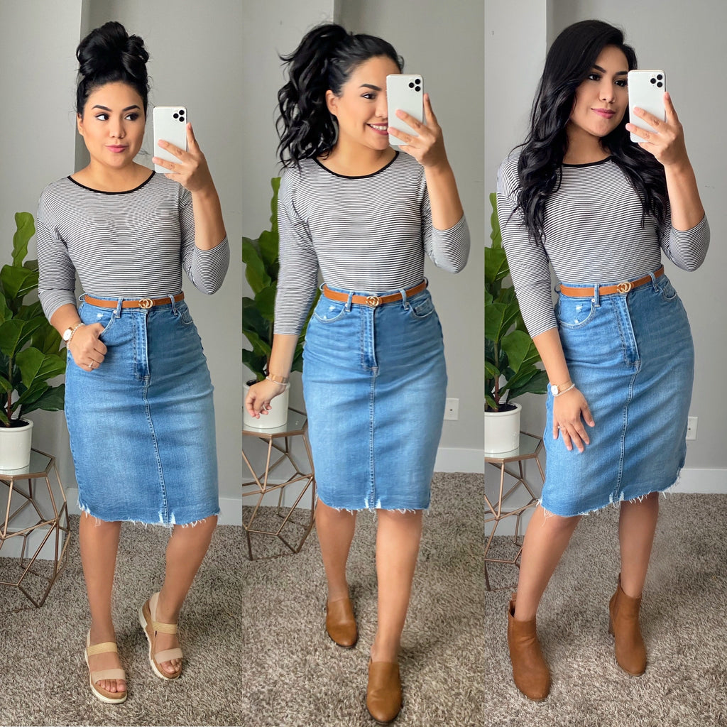 Good Vibes Denim Skirt - The Darling Style - Modest Dresses