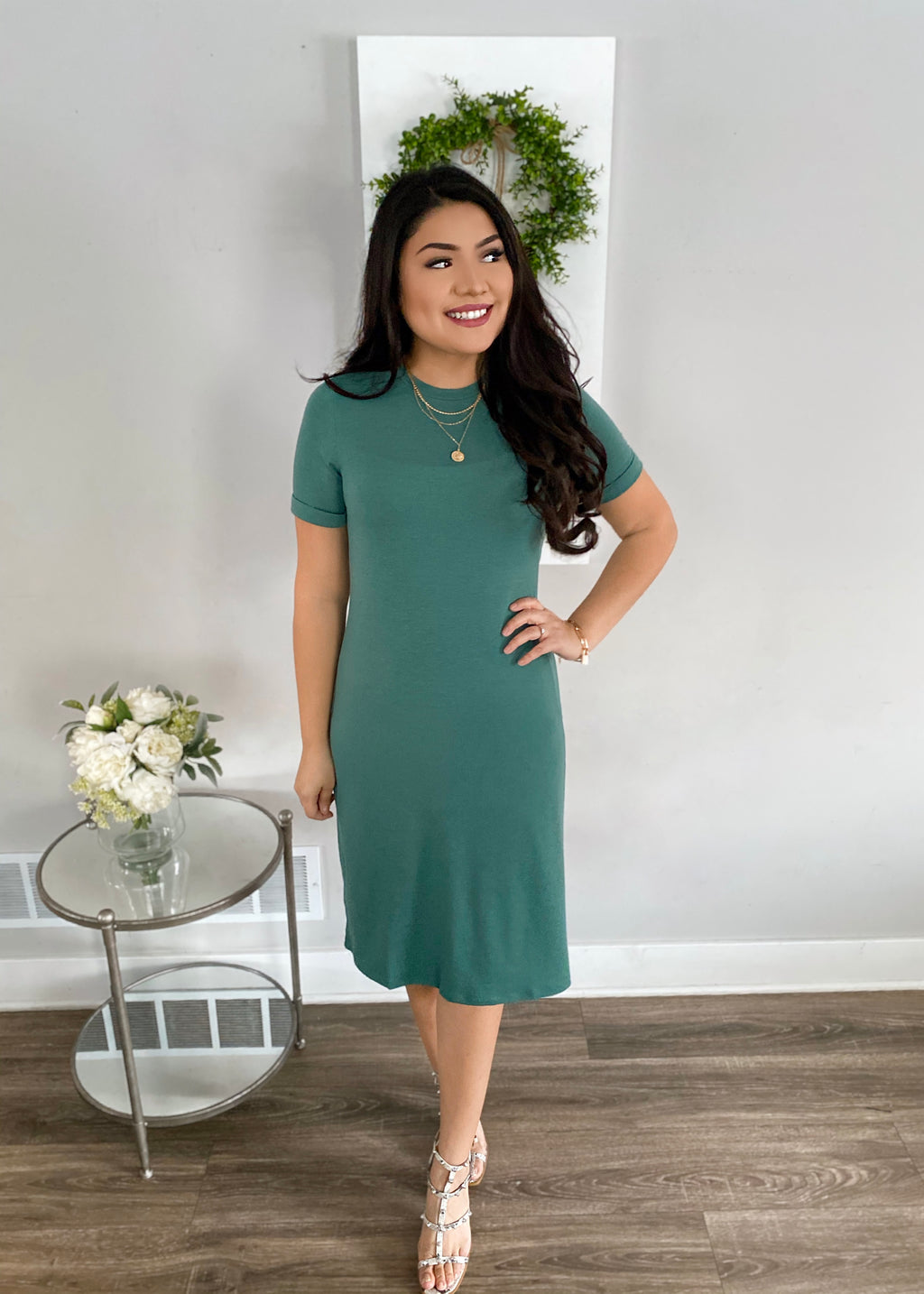 Brinn Everyday Tee Dress - Teal