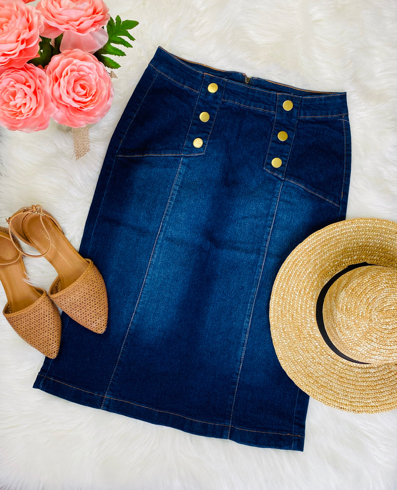 Belle Denim Button Skirt - The Darling Style