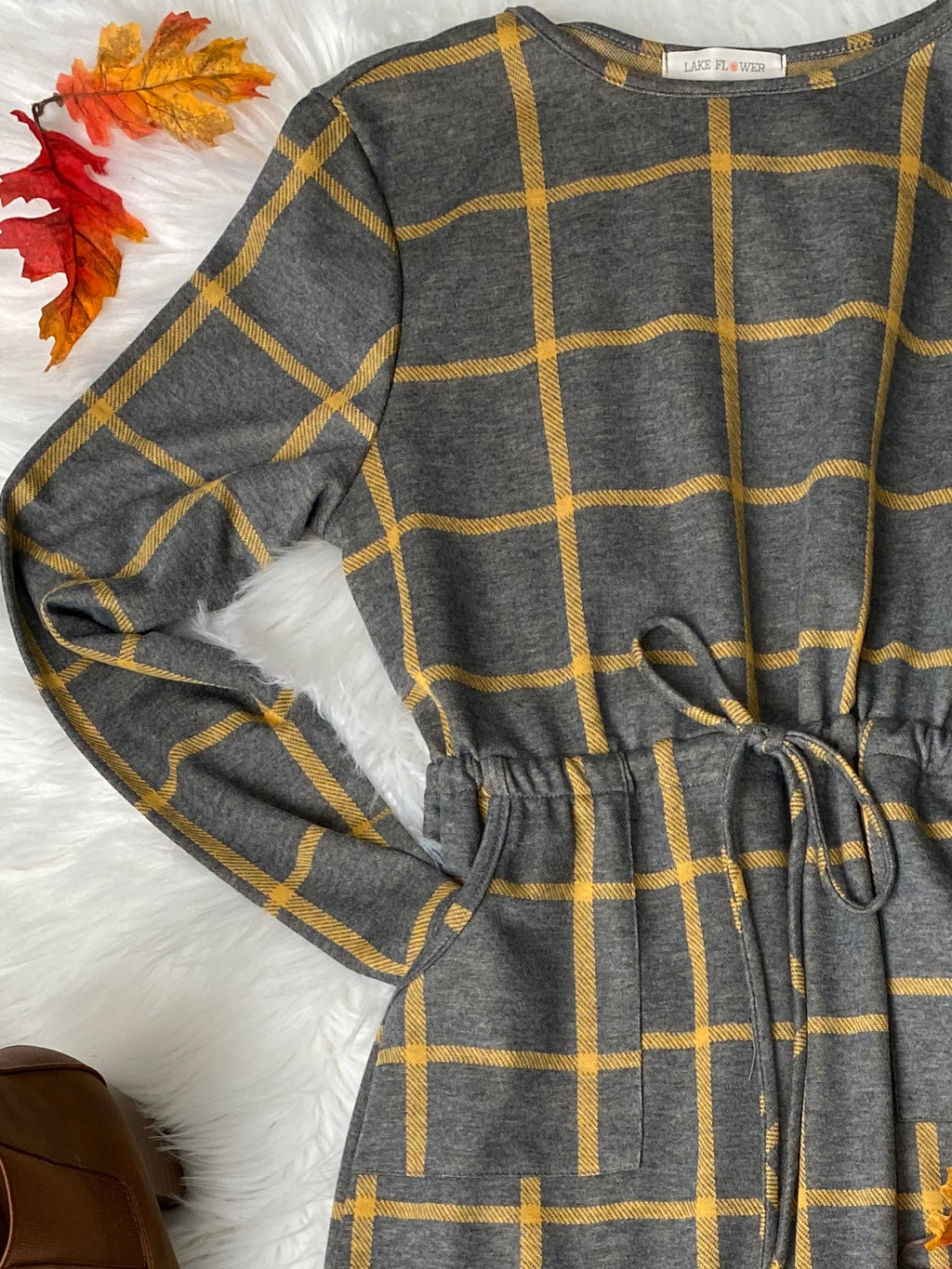 Cozy Grid Dress - Gray/Mustard