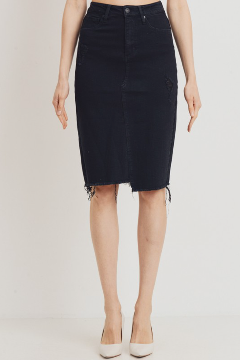 (Pre-Order) Venice Denim Black Skirt - The Darling Style