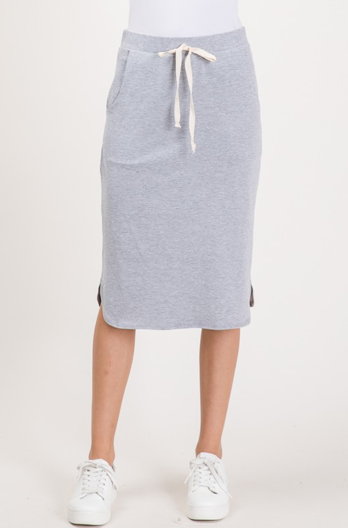 Kelly Comfy Drawstring Skirt - Gray - The Darling Style - Modest Dresses