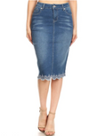 Camilla Lace Denim Skirt - Light - The Darling Style - Modest Dresses