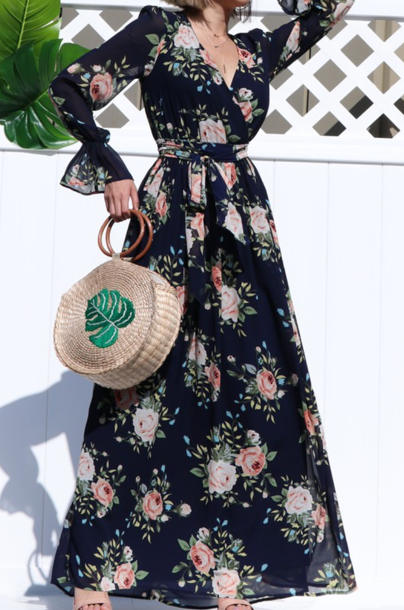 Flower Garden Maxi Dress - Navy - The Darling Style - Modest Dresses