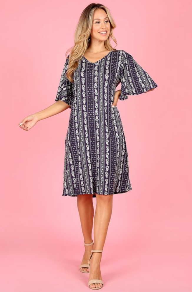 The Kimmy Dress - In Navy - The Darling Style - Modest Dresses