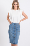 Amber Button Denim Skirt - The Darling Style - Modest Dresses