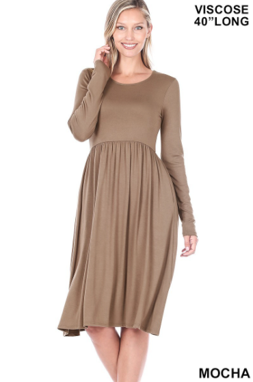 The Mia Dress - Mocha Latte + FREE Scarf