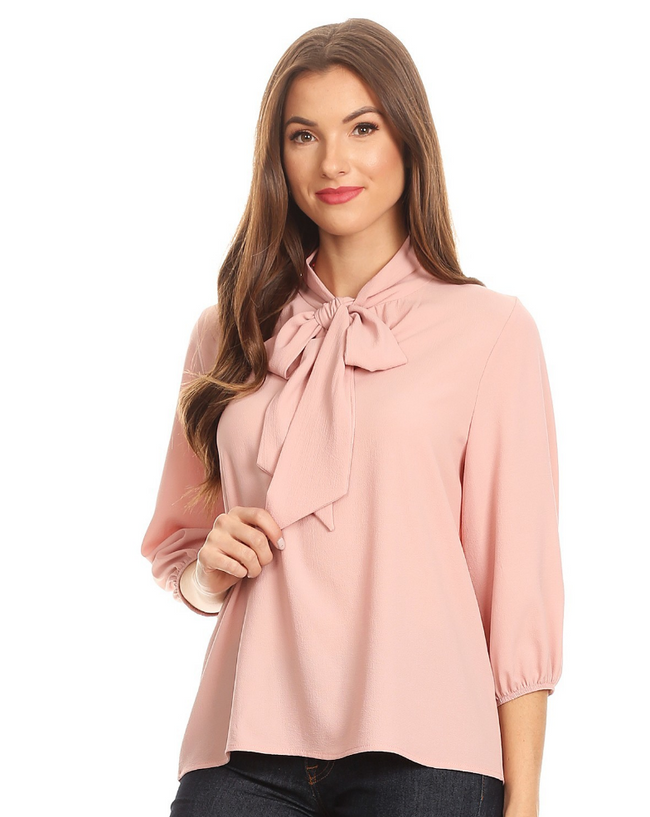 The Darling Bow Blouse - Pink