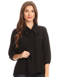 The Darling Bow Blouse - Black