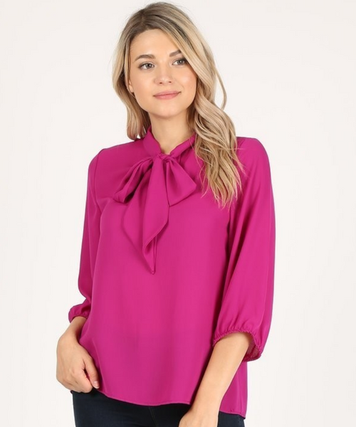 The Darling Bow Blouse - Hot Pink