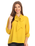 The Darling Bow Blouse - Mustard