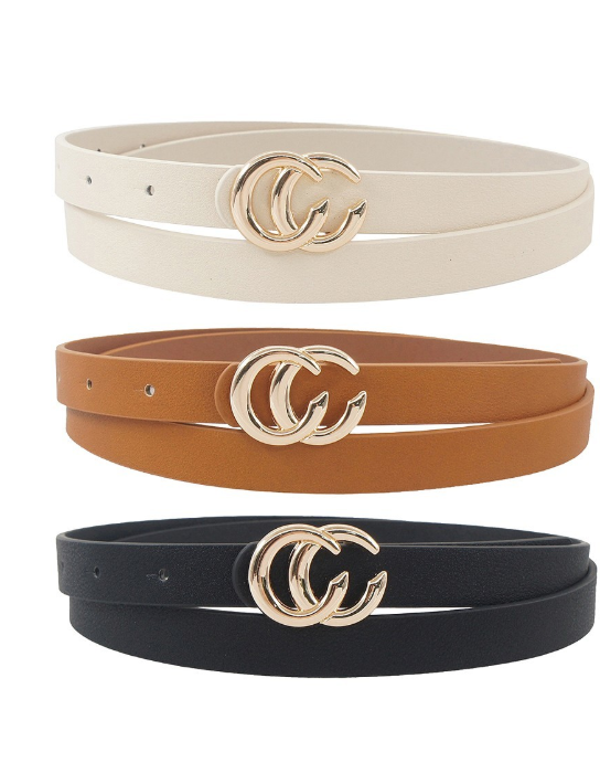 Esley Belt SET - In Black/Ivory/Tan