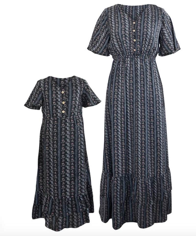 AUBREY MOMMY & ME BOHO BUTTON FRONT RUFFLE DRESS - BLACK FLORAL STRIPE