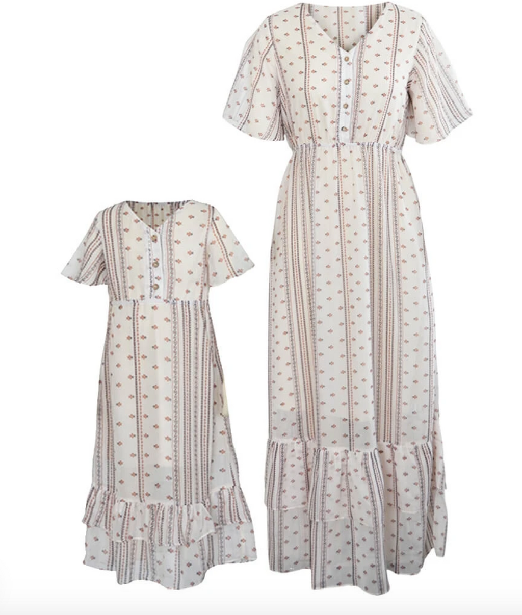 AUBREY MOMMY & ME BOHO BUTTON FRONT RUFFLE DRESS - CREAM FLORAL STRIPE