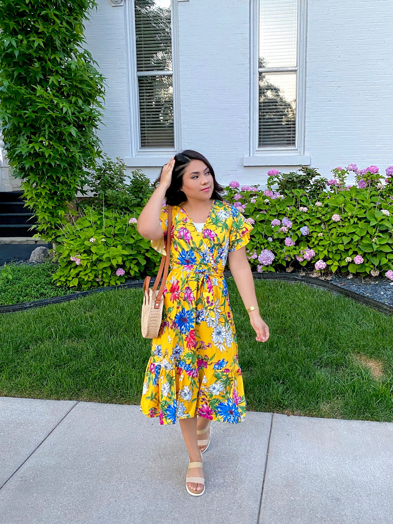 The Marilyn Dress - Mustard Floral - The Darling Style - Modest Dresses