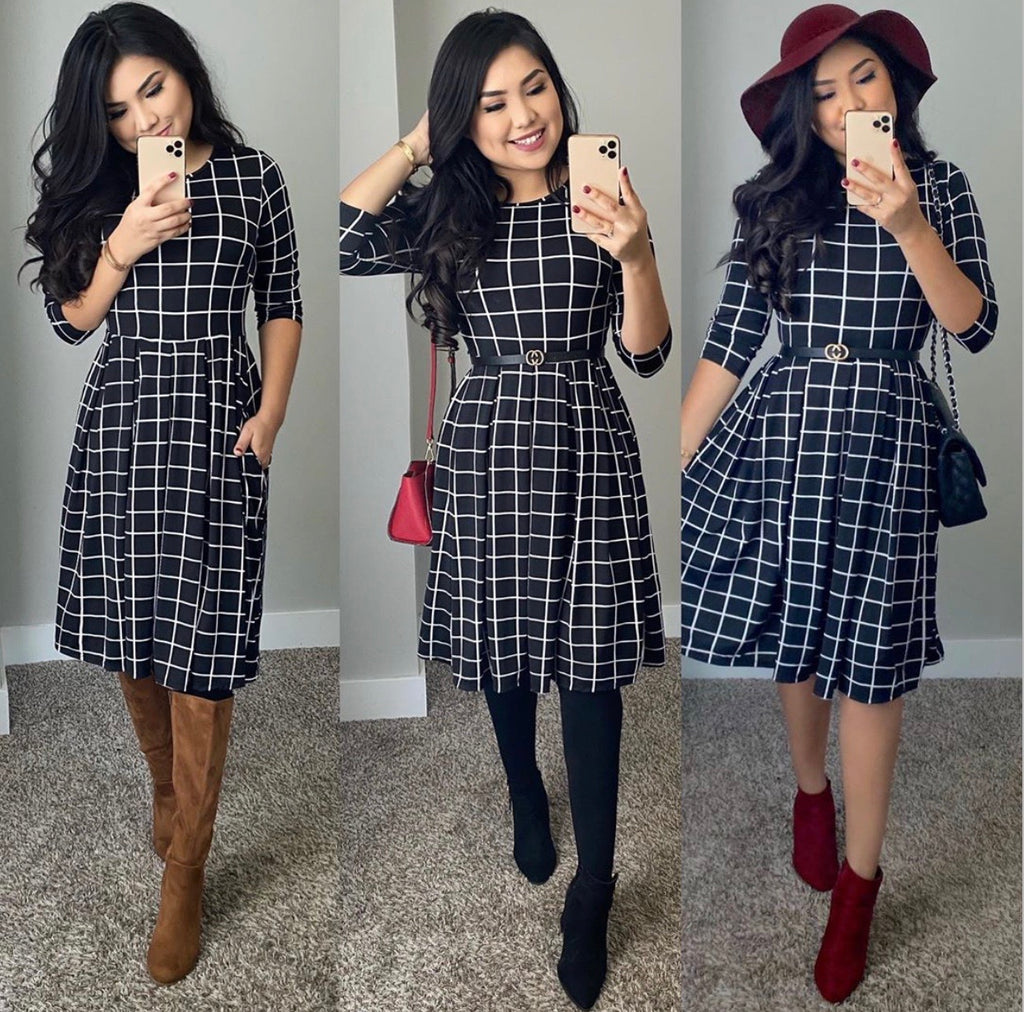 The Timeless Grid Dress - Black