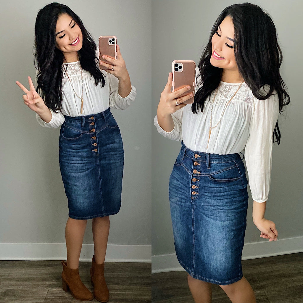 Button Down Denim Skirt (Pre-Order Ships July 11th) - The Darling Style - Modest Dresses