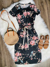 Casual Floral Drawstring Dress - The Darling Style - Modest Dresses