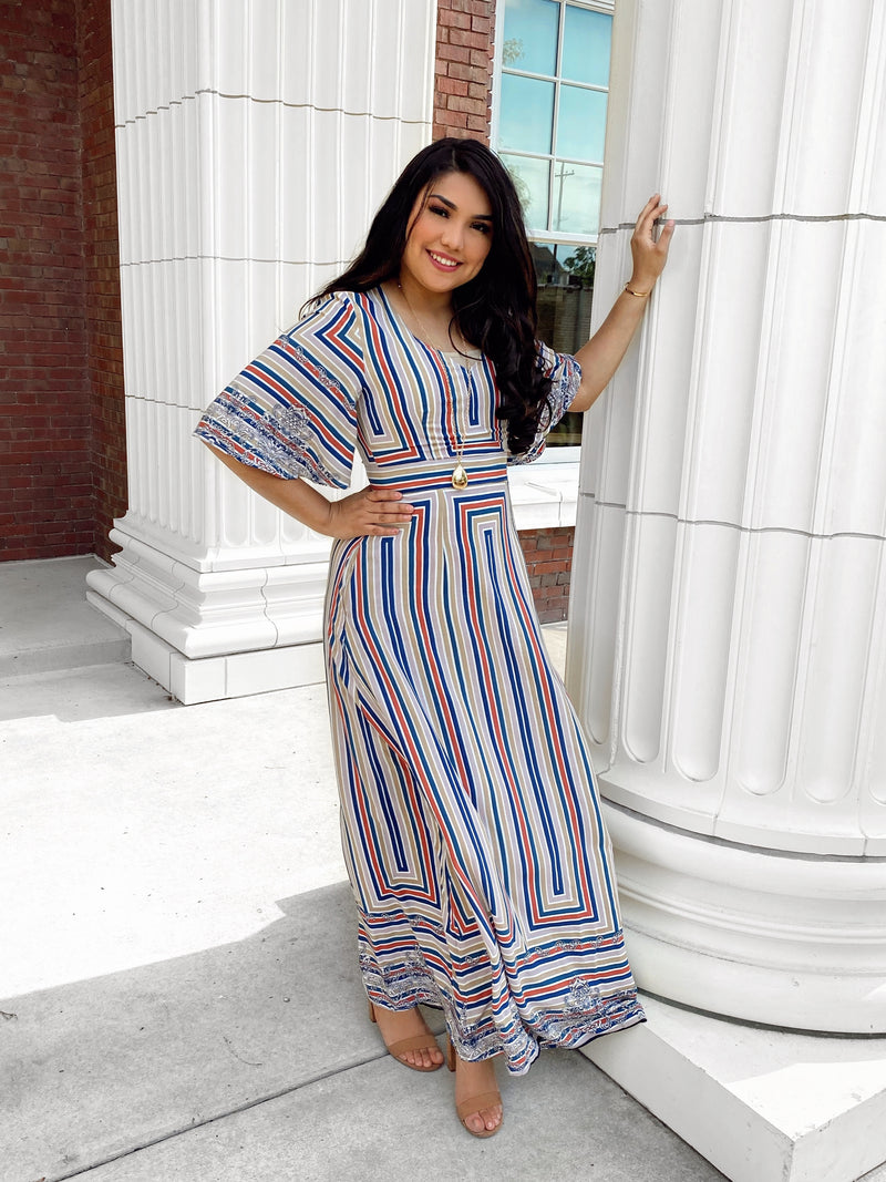 Georgia Striped Maxi Dress - The Darling Style - Modest Dresses