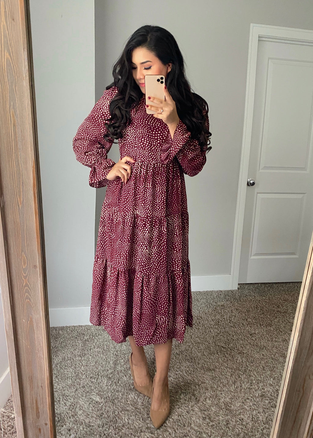 Grace Dot Dress - Burgundy