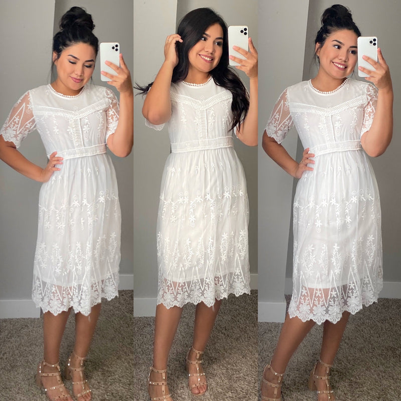 Lacey White Dress - The Darling Style - Modest Dresses