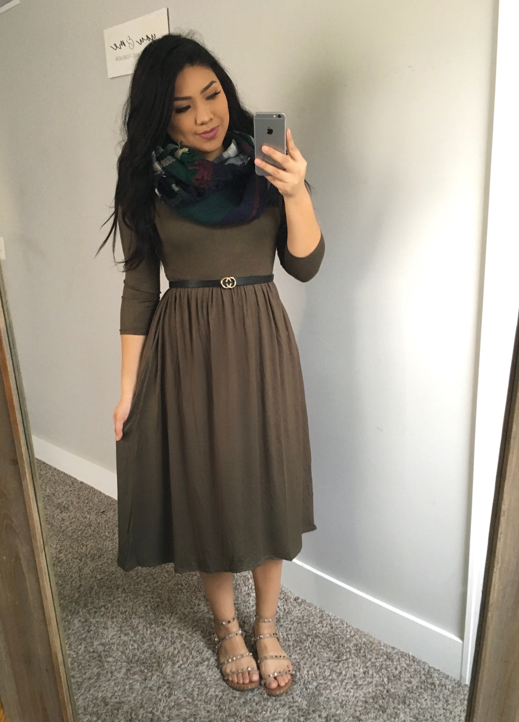 The Mia Dress - Dark Green + FREE Scarf
