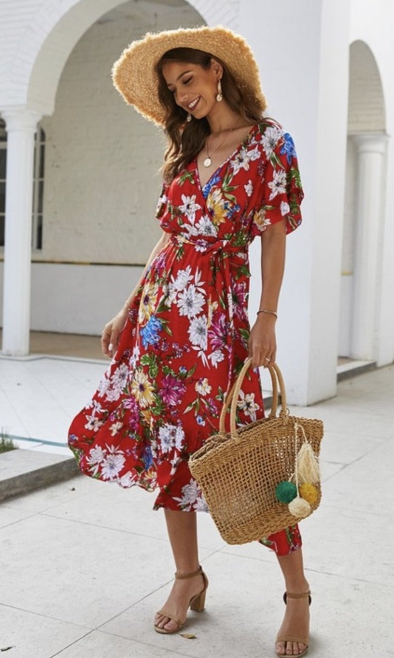 The Marilyn Dress - Red Floral - The Darling Style - Modest Dresses