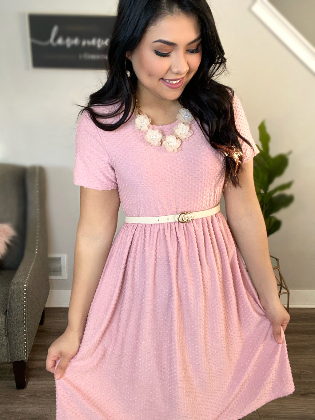 Loving You - Swiss Dot Dress - Pink