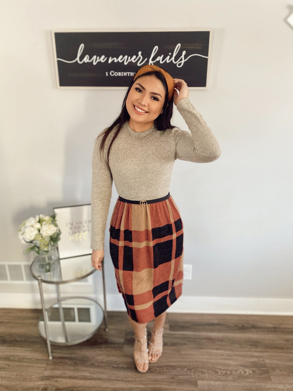 Still Believing Plaid Sweater Dress - In Taupe