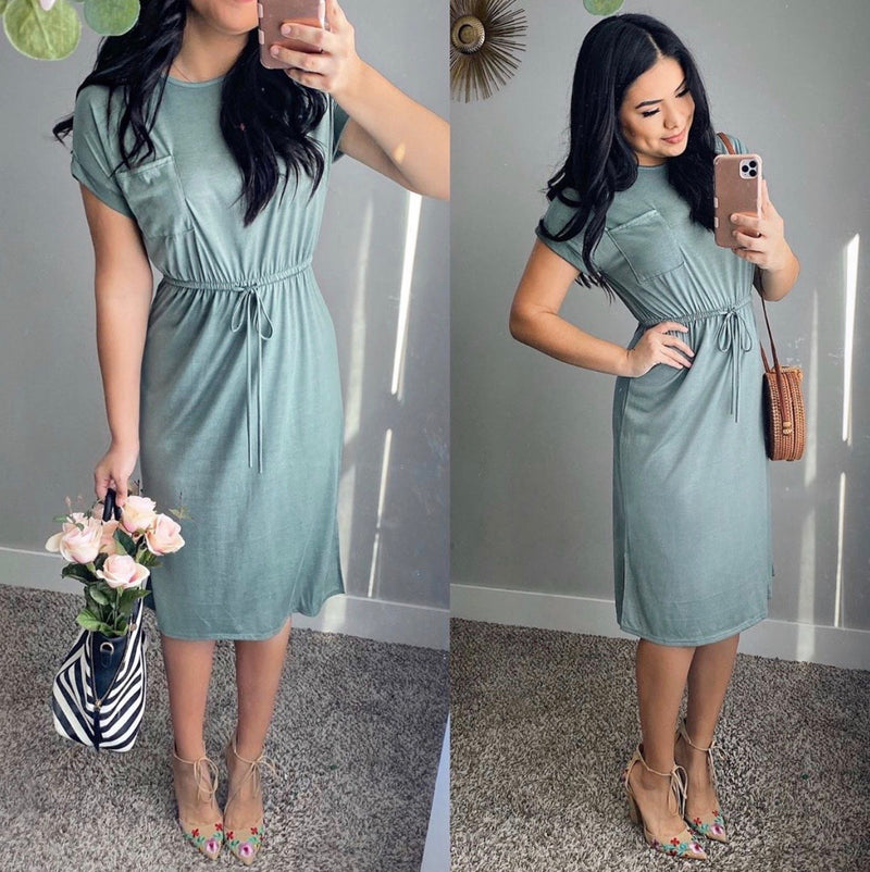 Leap Of Faith Dress - Light Olive - The Darling Style - Modest Dresses