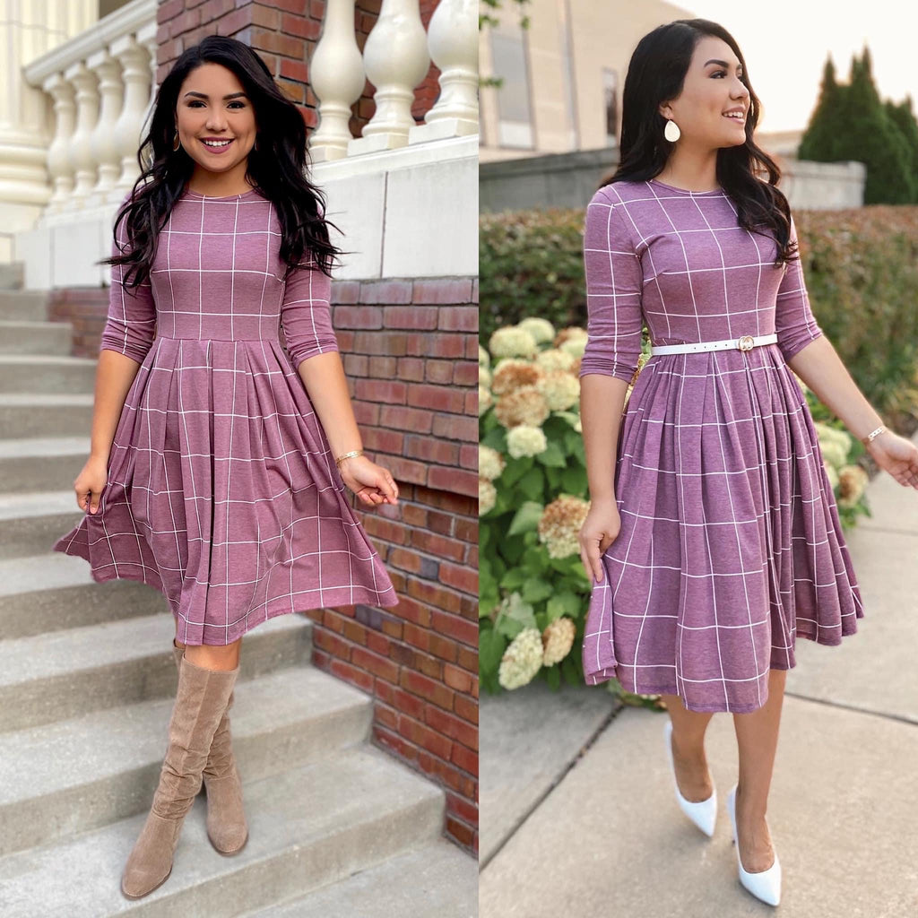 The Uptown Girl Dress - In Mauve