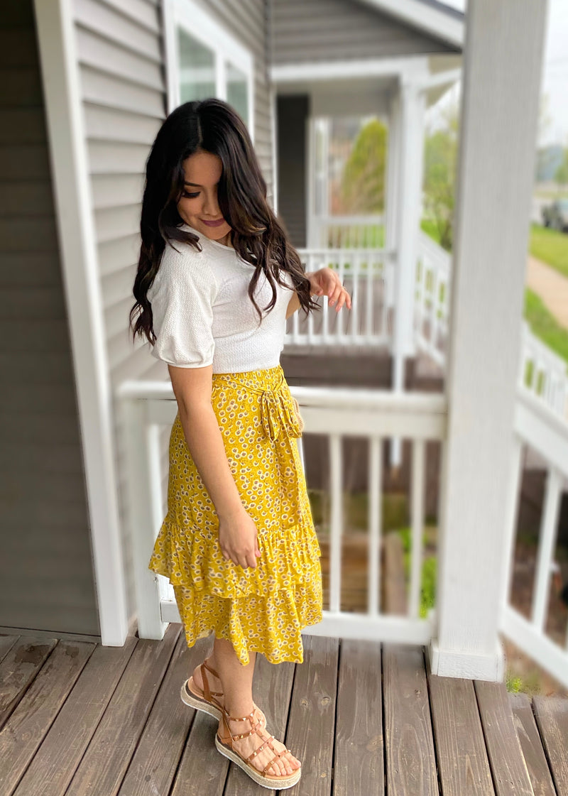 Dandelion Mustard Ruffled Skirt - The Darling Style - Modest Dresses