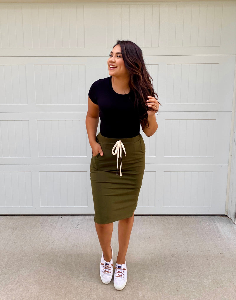 Kelly Comfy Drawstring Skirt - Dark Olive - The Darling Style - Modest Dresses