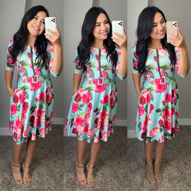Molly Floral Belted Dress - The Darling Style - Modest Dresses