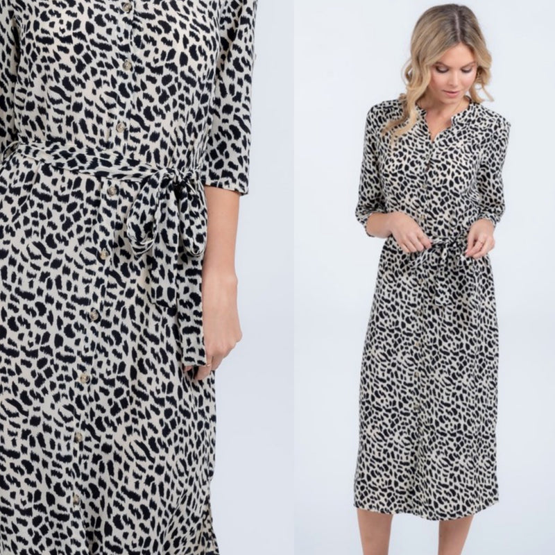 Leopard Print Midi Dress - The Darling Style - Modest Dresses