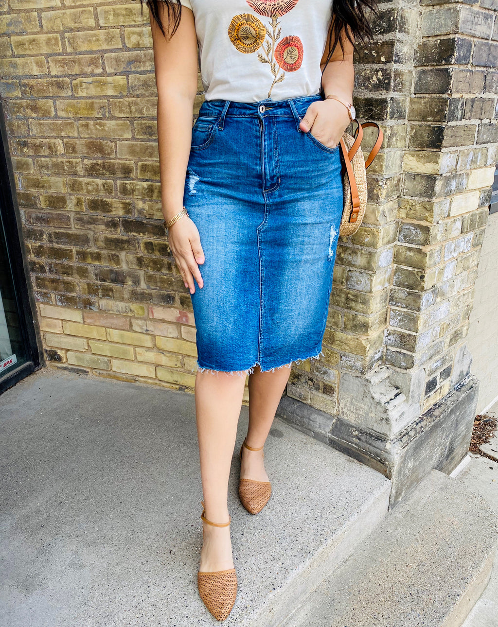 Manhattan Denim Skirt - The Darling Style - Modest Dresses