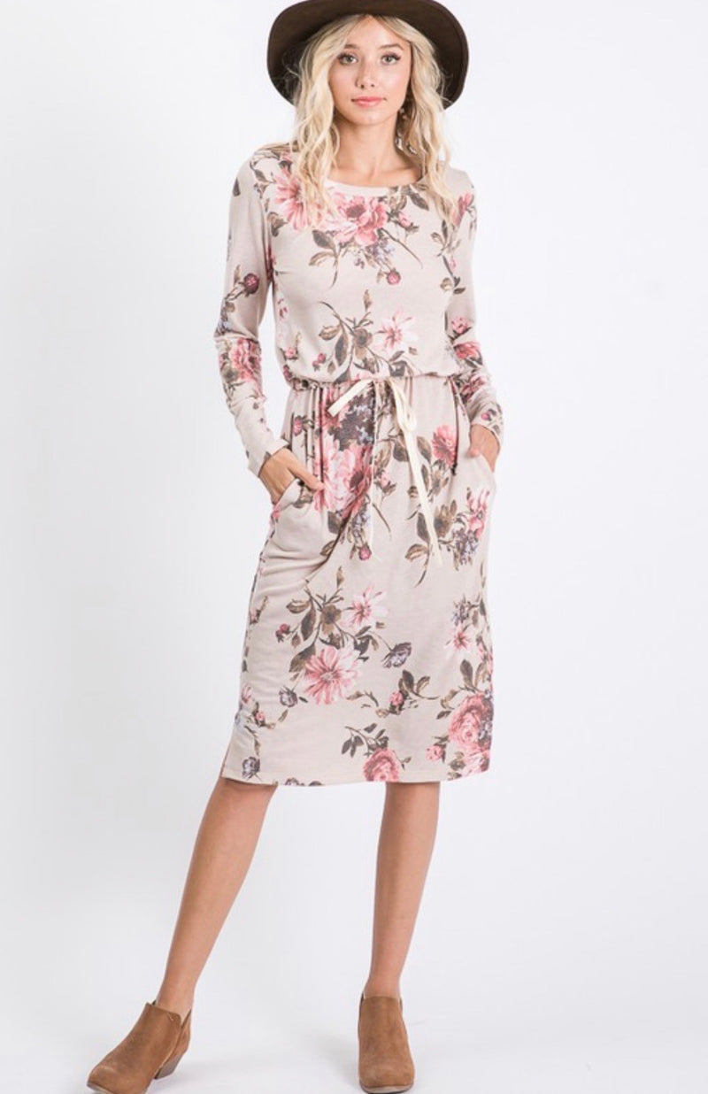 Mel Floral Drawstring Dress - The Darling Style - Modest Dresses