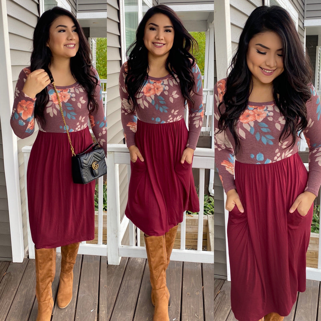 The Amy Dress - In Burgundy - The Darling Style - Modest Dresses