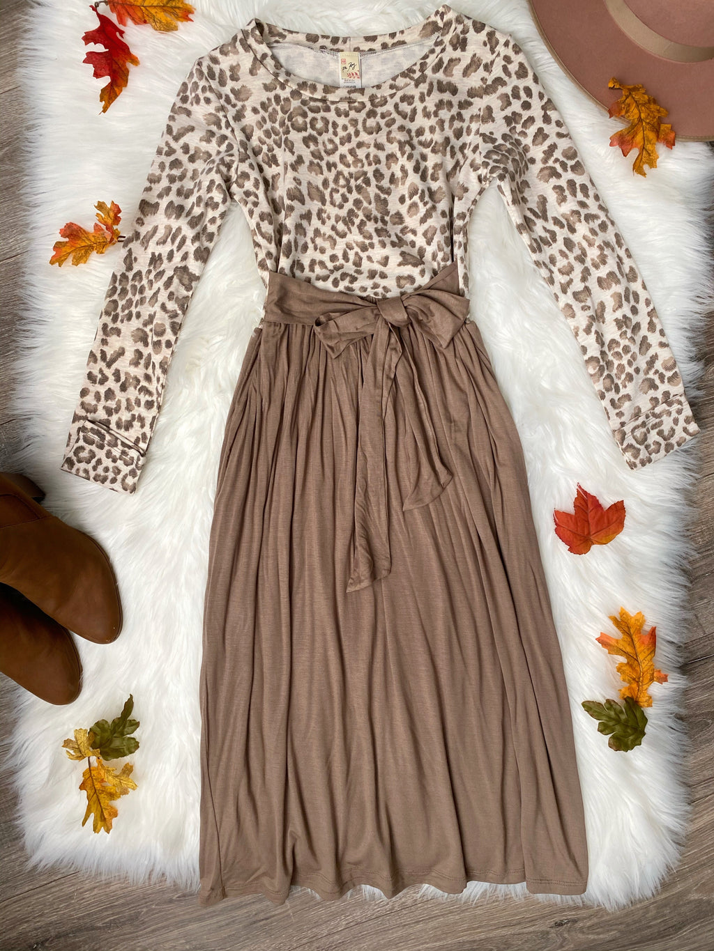 Animal Print Tie Dress in Mocha Latte