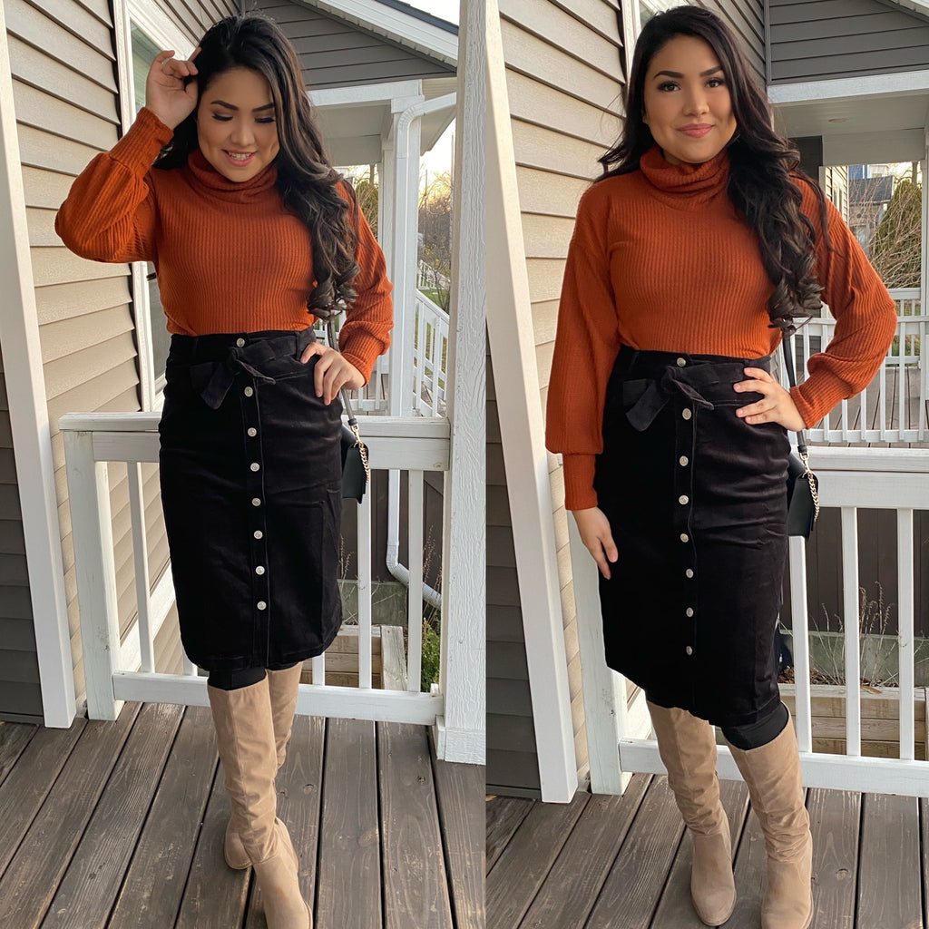 Christine Turtleneck Blouse - Rust