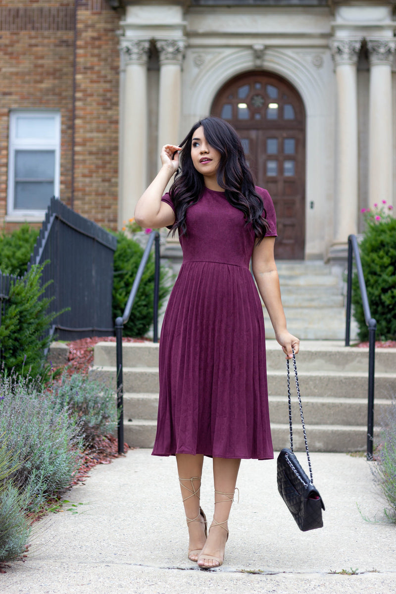 Giana Pleated Suede Dress - Plum - The Darling Style - Modest Dresses