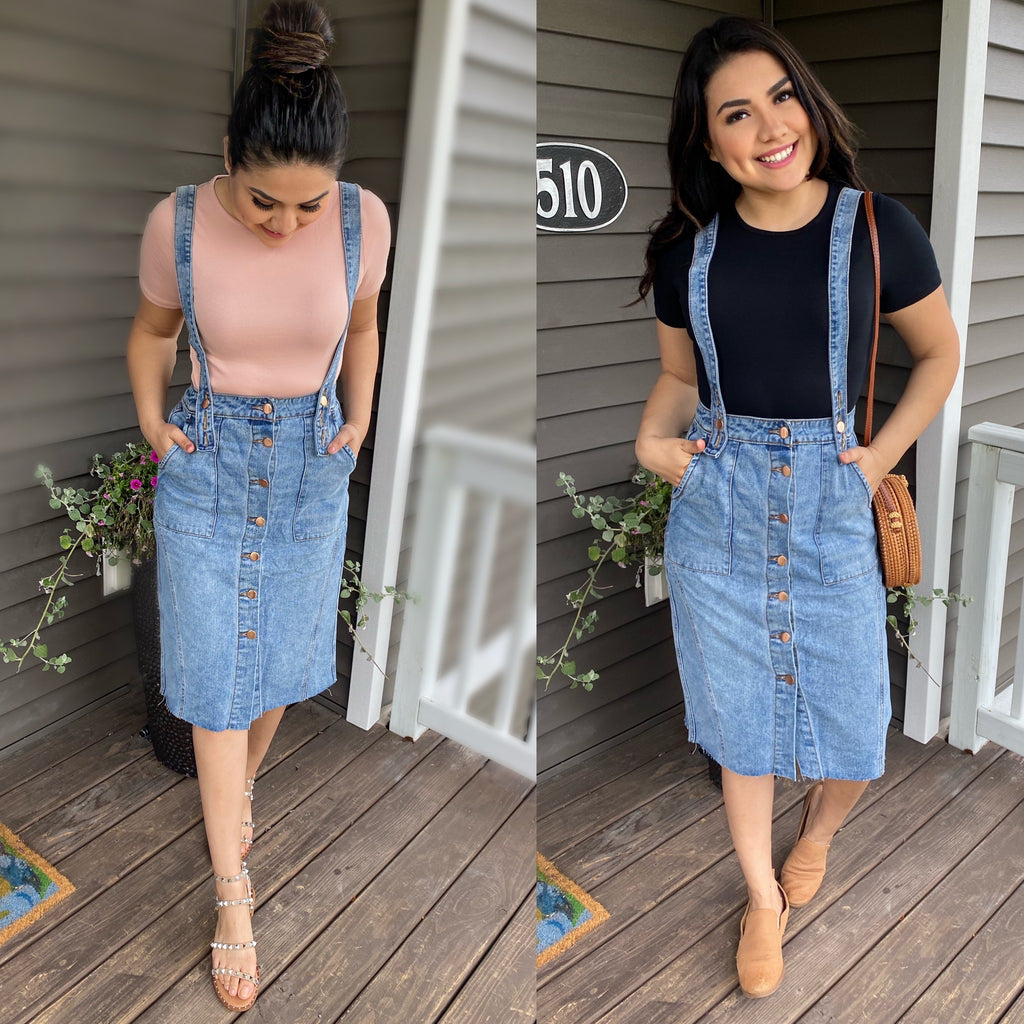 Brooke Overall Denim Skirt (Pre-Order Ships Wed. July 8th) - The Darling Style