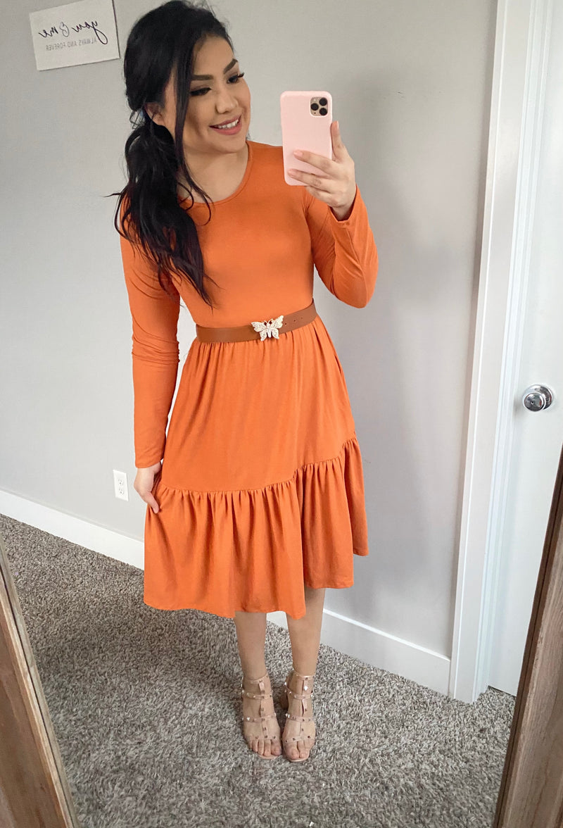 Margot Dress - Marsala Orange