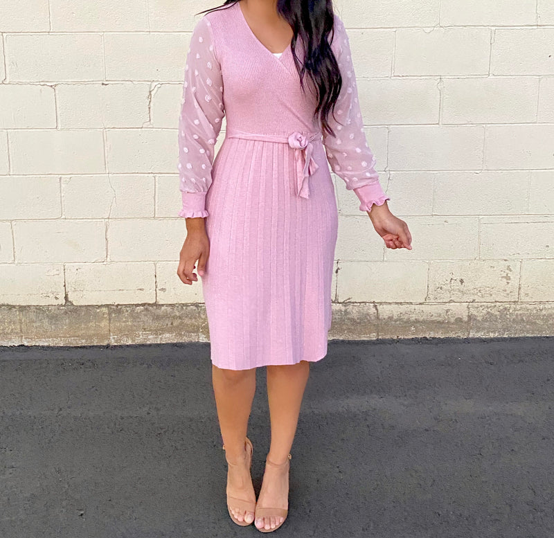 Pauline Sweater Dress - Pink Color - The Darling Style - Modest Dresses